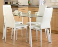 "Abbey 47"" 4 Seater Dining Set with 4 White Faux Leather Chairs and Glass Table"