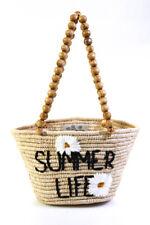 Mana Saint Tropez Womens Rafia Summer Life Wooden Handle Tote Handbag Beige