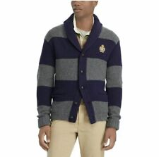 28a6281802cc4 Polo Ralph Lauren Mens Vintage Retro 100% Wool Crest Rugby Knit Sweater  Cardigan