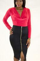 Womens Skirt Ladies Black High Waist Front Zip Pencil Bodycon Style