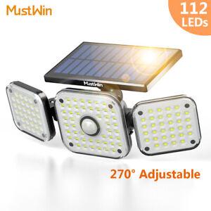 112 LED Fluter Solarleuchte Solarlampe mit Bewegungsmelder Außen Garten Strahler
