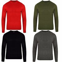 Mens Luxury Crew Neck Chunky Cable Knitted Sweater Long Sleeve Tops Bling