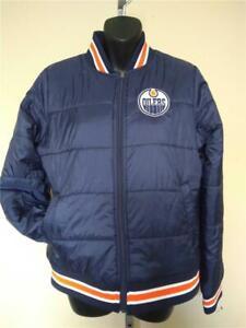 New Edmonton Oilers Womens Size M Medium Blue GIII Full-zip Puffer Jacket