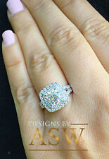 14K SOLID WHITE GOLD CUSHION CUT SIMULATED DIAMOND ENGAGEMENT RING HALO 2.80CTW