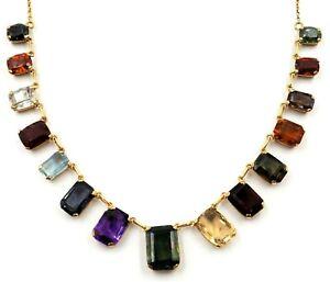 Handmade 18ct Yellow Gold Multi Gemstone Necklace Sapphire Garnet Citrine