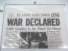 ST.LOUIS STAR TIMES MONDAY EVENING DECEMBER 8, 1941 WAR DECLARED *REPRODUCTION*