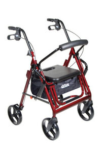 Drive Medical Duet Dual Function Transport Wheelchair Rollator Rolling...