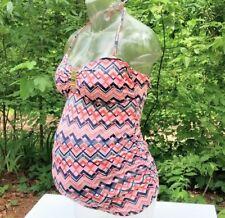 Women's A Pea in the Pod Maternity Tankini Swim Top Size S Chevron Pattern