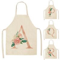 Women's Letters Floral Printed Kitchen Cooking Apron Cotton Linen Apron 68×55cm