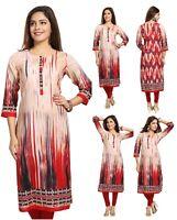 UK STOCK WOMEN INDIAN COTTON  RED KURTA KURTI TUNIC TOP SHIRT SC1101 3/4 Sleeve