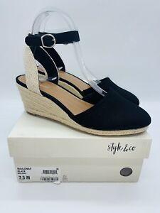 Style & Co Women's Mailena Wedge Espadrille Sandals Black US 7.5M