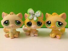 Littlest Pet Shop # 273/401/273 Rare Varient Tabby Cat With Green Eyes Set Of 3
