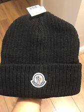 MEN'S MONCLER BLACK BEANIE HATS