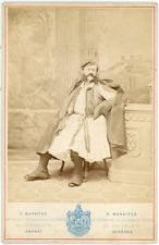 Grèce, Moraithe, Athènes, Homme en habits traditionnels, ca.1880, vintage albume