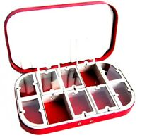 Aluminum Red Satin10 Compartment Fly Box Nymphs Wet Dry Flies Rods Reels Nets