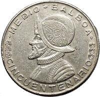 1953 PANAMA 1/2 BALBOA 50th Anniversary of Republic Founding Silver Coin i53781
