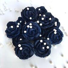 Navy Blue Roses & Pearls Sugarpaste Edible Wedding Flowers Cake Decorations