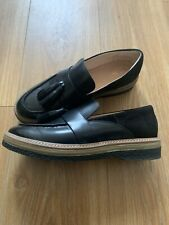 Clarks glick 6 6.5 Black leather look Suede Tassel Flat Shoes worn once