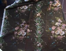VINTAGE INTERIORS LINEN OLIVE GREEN WITH LARGE FLORAL PRINT NEW - PER METRE