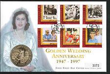 1997 Golden Wedding Coin FDC - £5 Coin & Guernsey Pmk