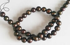 "Freshwater Pearl Coffee Bronze Large 10-11mm Potato Round Beads 15"" Strand W48"