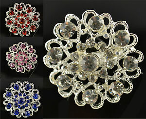 SILVER TONE HEART FLOWER BROOCH WITH CLEAR, RED, PINK OR BLUE CRYSTALS
