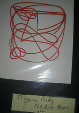 JAMES PURDY DRAWING    RED FIGURE  signed  1992