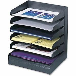 Safco Slanted Shelves Steel Desk Tray Sorter - SAF3128BL