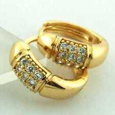 FS871 GENUINE 18K YELLOW G/F GOLD SOLID DIAMOND SIMULATED HUGGIE HOOP EARRINGS