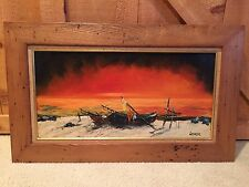 Vintage Original Oil Painting On Canvas Artist Signed WYKER Sunset