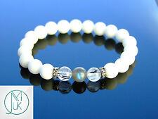 Labradorite/Quartz/Agate Gemstone Bracelet 7-8'' Elasticated Healing Stone Reiki