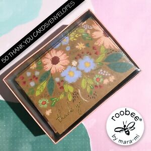 roobee by MARA-MI Thank You Cards Floral Brown Background Any Occasion 50 Sets