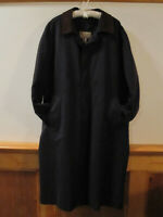 $189 Mens LL BEAN Micro Poly 2 in 1 Trench Coat Leather Collar Wool Liner NAVY L