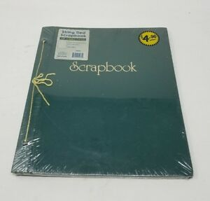 """Vintage String Tied Green Scrapbook 12""""x14"""" Photo Album Thompson Products NOS"""