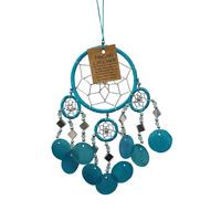 Dream catcher Capiz shells 6cm Turquoise Blue bedroom lounge porch DC6c 001