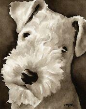 Lakeland Terrier Art Print Sepia Watercolor Painting by Artist Djr