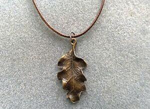 Oak Leaf Pendant, Gold or Bronze Tone on Cord Necklace. Autumn, Nature Jewellery