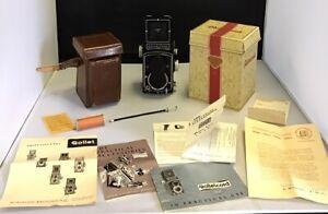 Vintage Rolleicord Frankie & Heidecke Braunschweig W/ Leather Case/ Paperwork