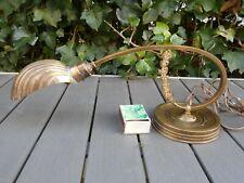 Ancienne rare superbe lampe de piano ART NOUVEAU en bronze, abat jour coquille