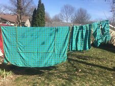 VTG Twin Bedspread & Curtains 1960 Retro MCM Turquoise Green Check 7 Pc Lot