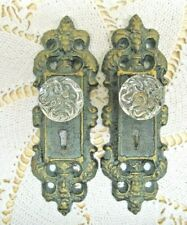 Cast Iron Door Plate With Acrylic//Glass Knob Vintage Turquoise//Teal Accent