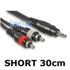 Short 30cm Pro 3.5mm Stereo Jack Plug to 2 x RCA Red & White Phono Plugs Lead