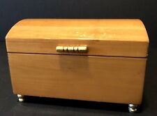 Beautiful Vintage Wooden Footed Musical Jewelry Box With Hinged Lid