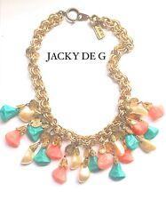 Jacky de G Vintage Perla Collar Babero Coral Turquesa francés