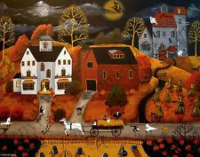11x14 Art Giclee signed Print HALLOWEEN HAY RIDE costume witch cat barn farm DC