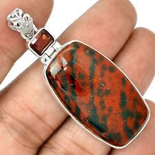 13g Bloodstone ( Heliotrope ) & Garnet 925 Sterling Silver Pendant Jewellery