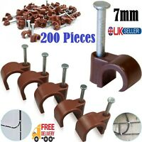 200x 7mm Brown Round Cable Clips -Coax/CAT6 Sky Wall Mounts Aerial Brick Outdoor