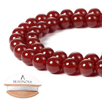 BEADNOVA Natural Red Agate Gemstone Round Loose Beads for Jewelry Making 6-10 mm