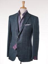 NWT $2995 SARTORIA PARTENOPEA Green-Navy Glen Check Linen-Wool Sport Coat 42 R