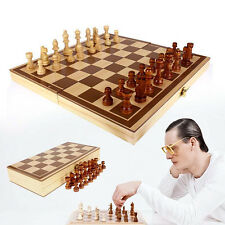 1Set Vintage Wooden Pieces Chess Set Folding Board Box Wood Hand Carved Toy Gift